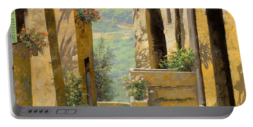 Landscape Portable Battery Charger featuring the painting stradina a St Paul de Vence by Guido Borelli