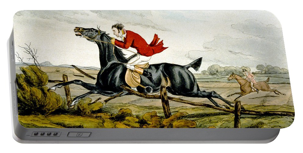 Black; Horse; Hunter; Rider; Out Of Control; Breaking; Jumping; Landscape; Speed; Comical; Humorous Portable Battery Charger featuring the painting Straight Through The Fence From Qualified Horses And Unqualified Riders by Henry Thomas Alken