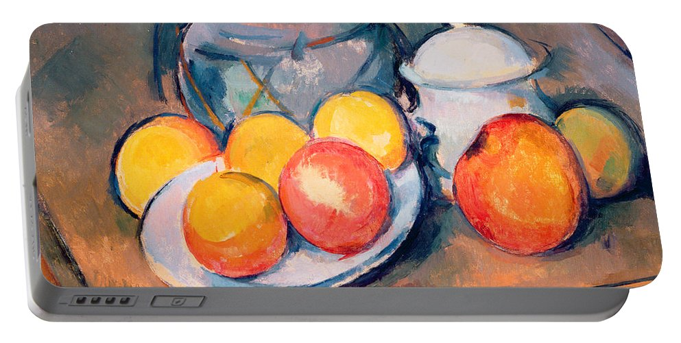 Still Life Portable Battery Charger featuring the painting Straw Covered Vase Sugar Bowl And Apples by Paul Cezanne