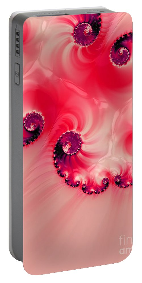 Background Portable Battery Charger featuring the digital art Strawberries And Cream by Heidi Smith