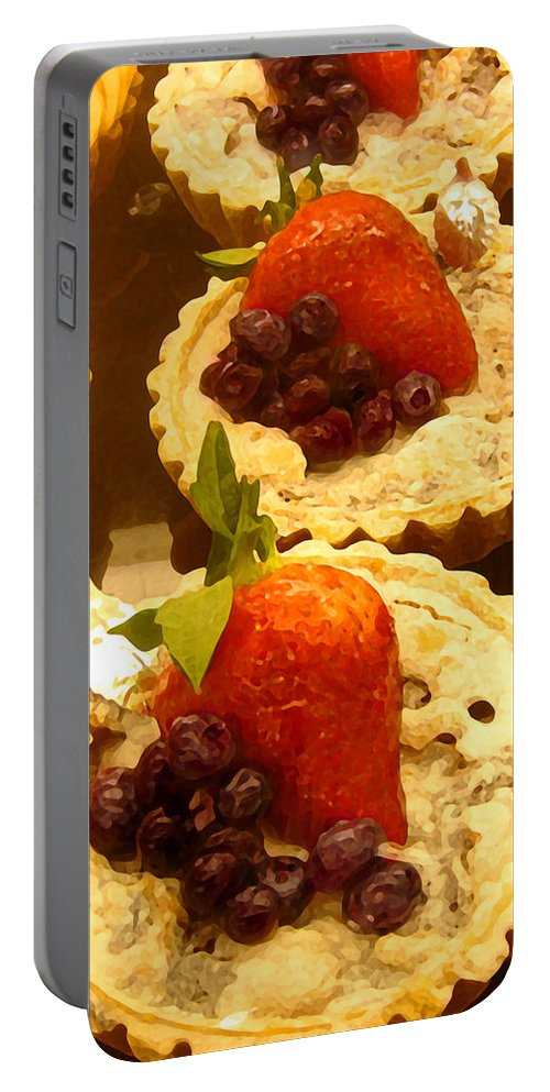Food Portable Battery Charger featuring the painting Strawberry Blueberry Tarts by Amy Vangsgard