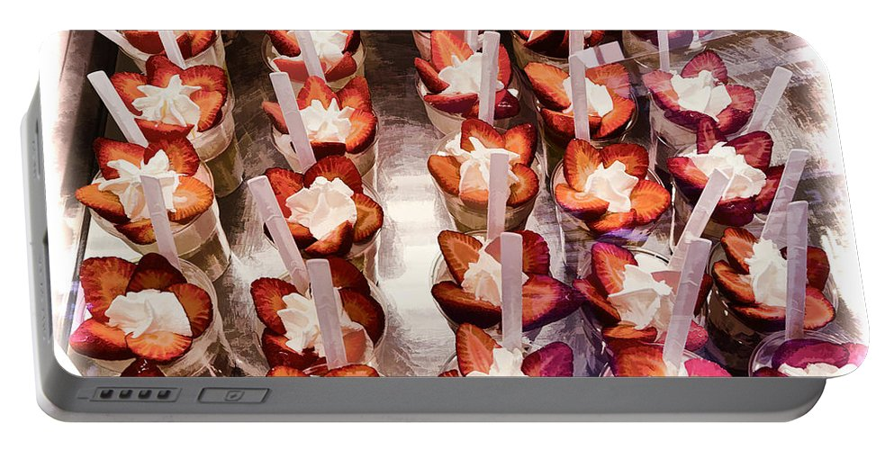 Strawberry Portable Battery Charger featuring the photograph Strawberry Dessert by Jon Berghoff