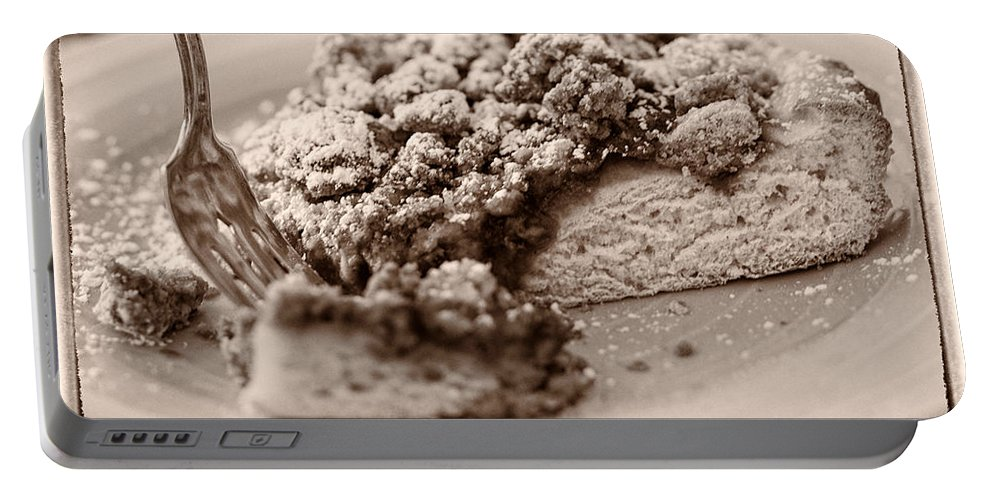Strawberry Streusel Kuchen Cake Sepia Tone Portable Battery Charger