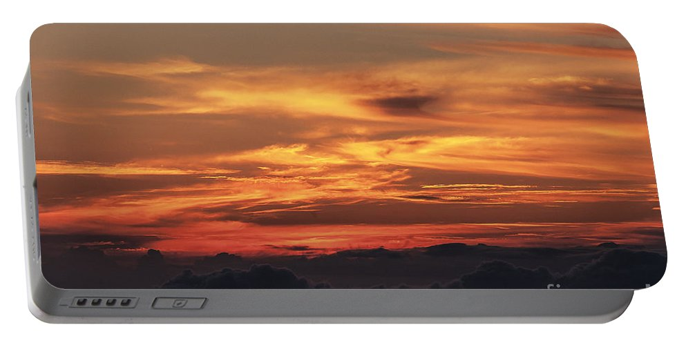 Haleakala National Park Volcano Area Maui Hawaii Evening Sky Skies Cloud Clouds Sunset Sunsets Sun Cloud Clouds Parks Portable Battery Charger featuring the photograph Streaks Above The Clouds by Bob Phillips