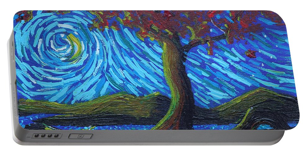 Landscape Portable Battery Charger featuring the painting Streaming Along by Stefan Duncan