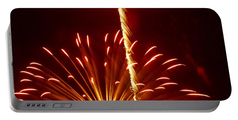 Fireworks Portable Battery Charger featuring the photograph Streaming Fireworks by Ray Konopaske