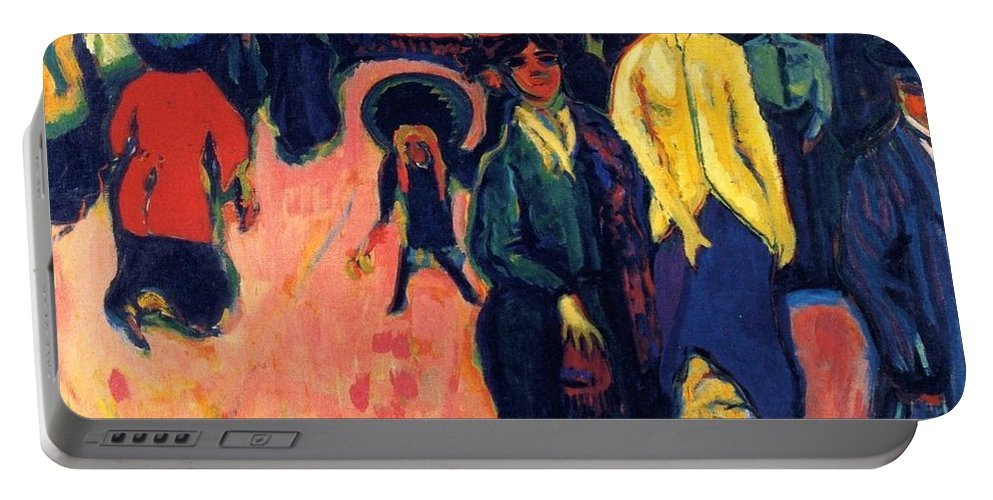 1919 Portable Battery Charger featuring the painting Street - Dresden by Ernst Ludwig Kirchner