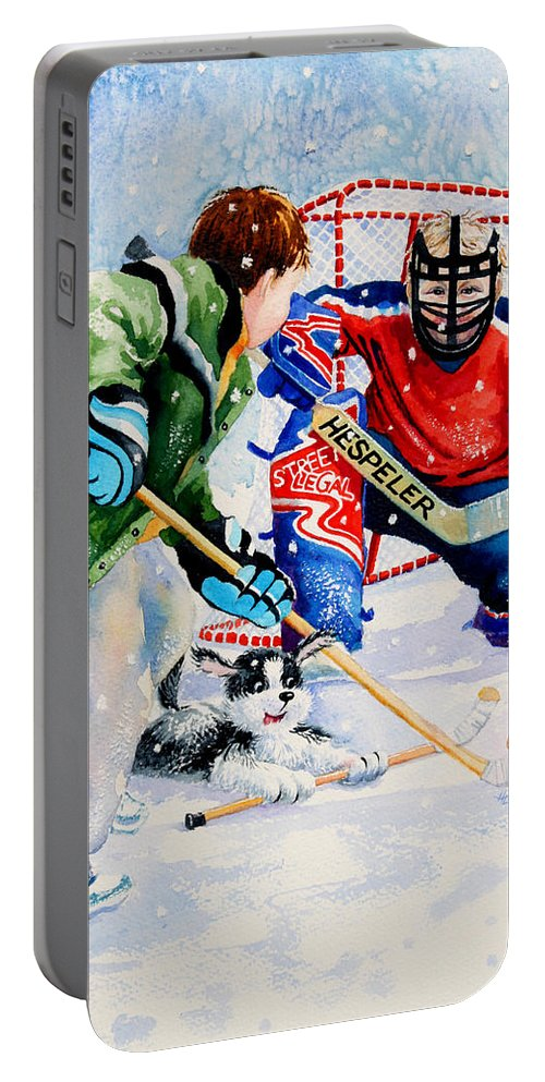 Kids Hockey Portable Battery Charger featuring the painting Street Legal by Hanne Lore Koehler