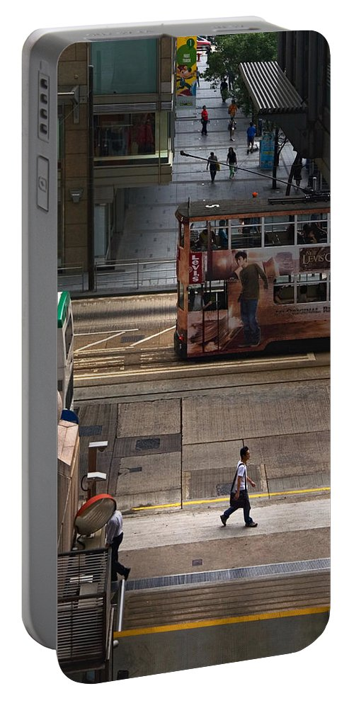 Street Portable Battery Charger featuring the photograph Street Life In Hong Kong by Anders Hingel