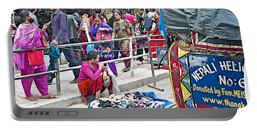 Street Market View From A Rickshaw In Kathmandu Durbar Square In Nepal Portable Battery Charger featuring the photograph Street Market View From A Rickshaw In Kathmandu Durbar Square-nepal by Ruth Hager