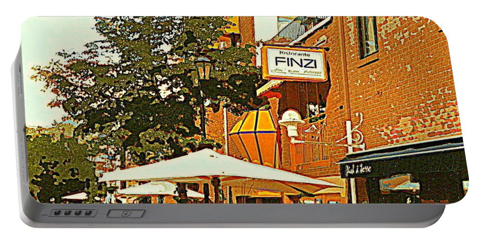 Cafes Portable Battery Charger featuring the painting Street Musician Serenades The Terrace Umbrella Crowd At Ristorante Finzi Italienne Cafe Scene by Carole Spandau