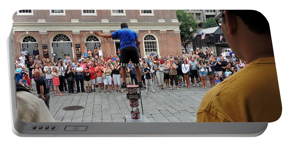 Perform Portable Battery Charger featuring the photograph Street Performer Faneuil Hall Market Boston by Mim White