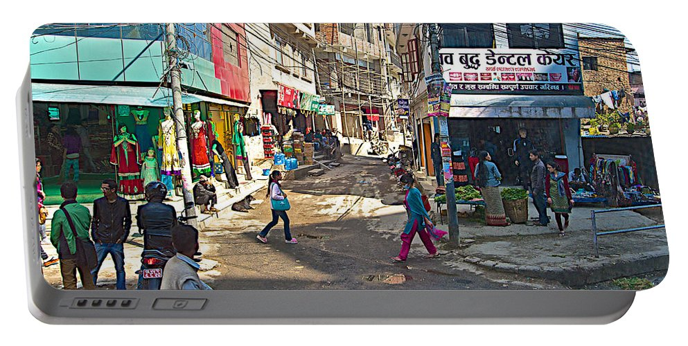 Street Scene In Kathmandu In Nepal Portable Battery Charger featuring the photograph Street Scene In Kathmandu-nepal by Ruth Hager
