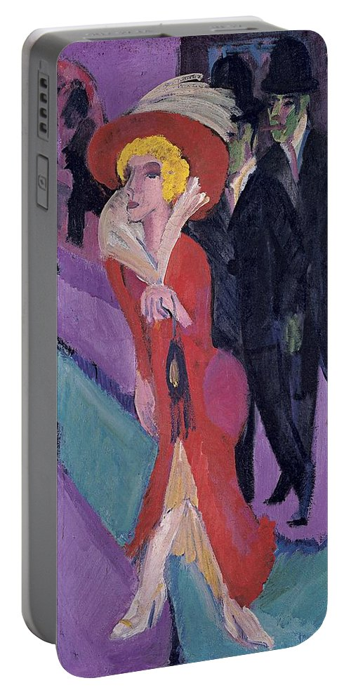 1914-1925 Portable Battery Charger featuring the painting Street With Red Streetwalker by Ernst Ludwig Kirchner