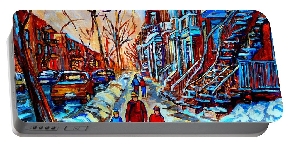 Montreal Portable Battery Charger featuring the painting Streets Of Montreal by Carole Spandau