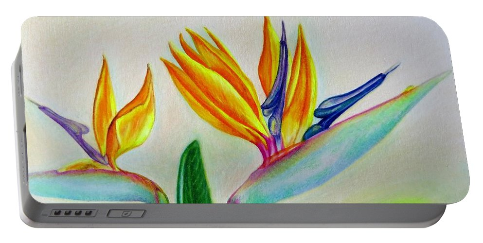 Strelitzia Portable Battery Charger featuring the drawing Strelitzia - Together by Zina Stromberg
