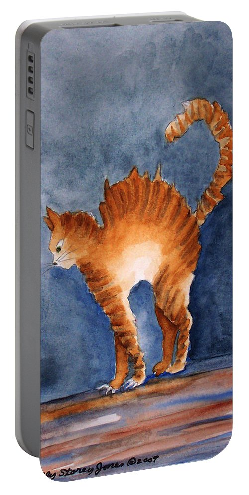 Cat Portable Battery Charger featuring the painting Stressed by Sally Storey Jones