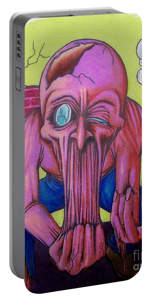 Tmad Portable Battery Charger featuring the drawing Stretching The Truth by Michael TMAD Finney