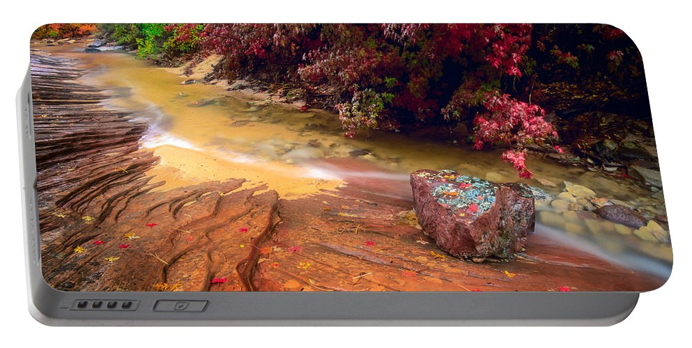 America Portable Battery Charger featuring the photograph Striated Creek by Inge Johnsson