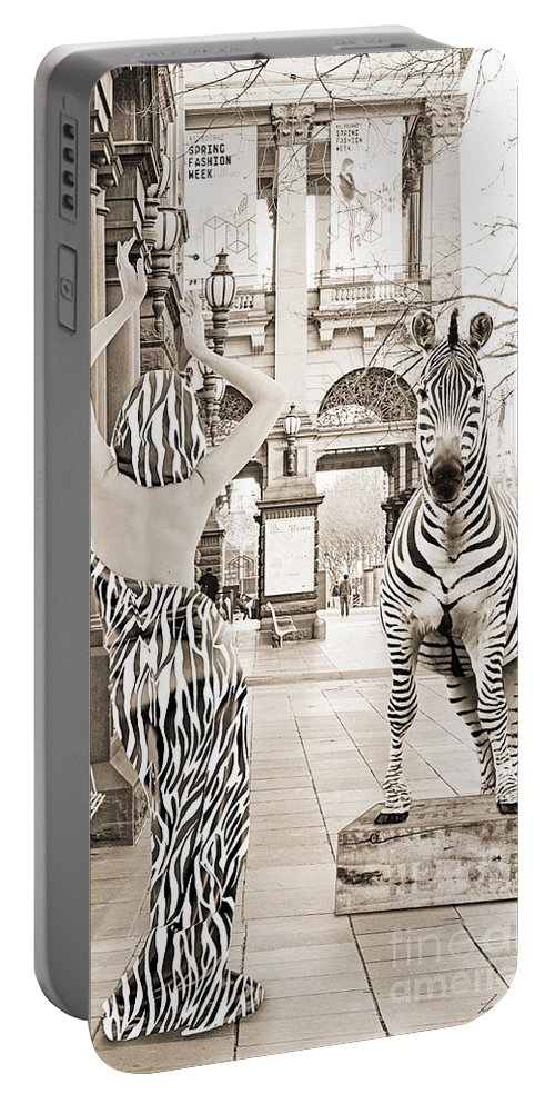 Woman Portable Battery Charger featuring the digital art Strike The Pose  Monotone by Linda Lees