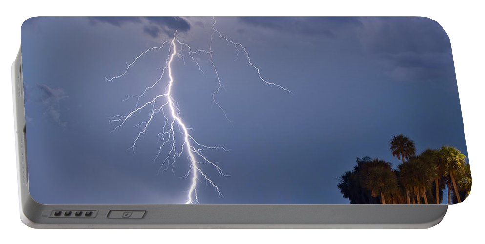 Florida Lightning Portable Battery Charger featuring the photograph Striking by Stephen Whalen