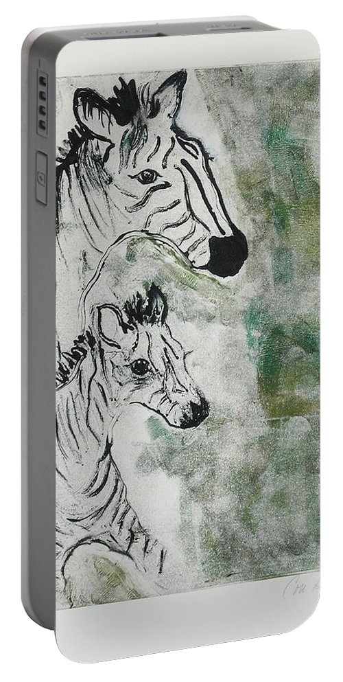 Zebras Portable Battery Charger featuring the mixed media Striped Duet by Cori Solomon