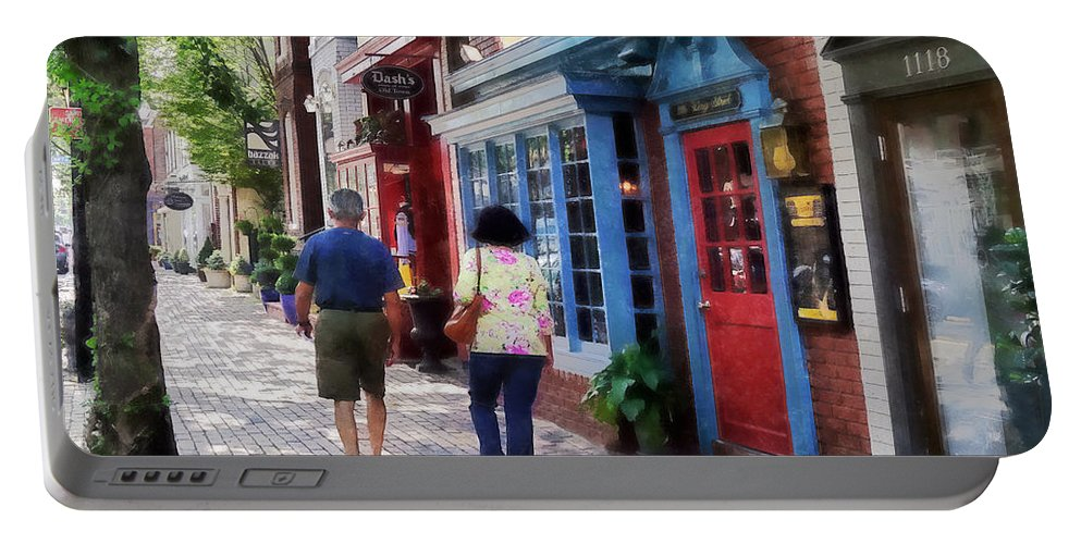 Alexandria Portable Battery Charger featuring the photograph Alexandria Va - Strolling Down King Street by Susan Savad
