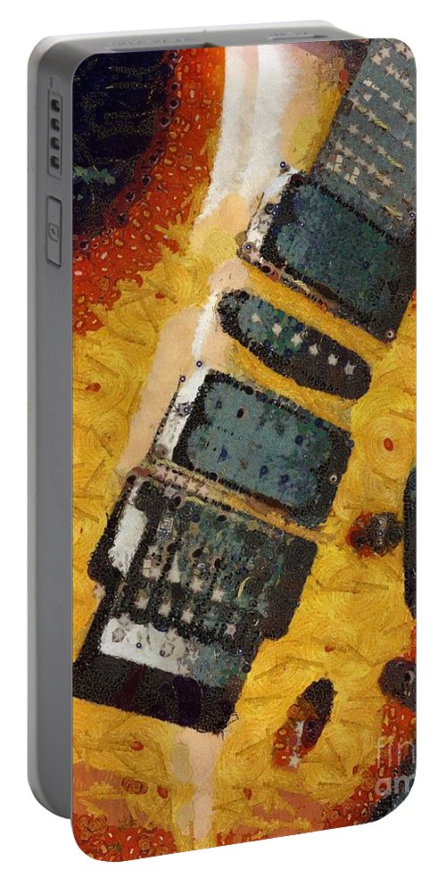 Strummed Portable Battery Charger featuring the painting Strummed by Catherine Lott