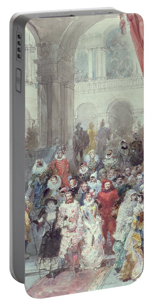 Study For A Costume Ball Given By The Princess Of Sagan Portable Battery Charger featuring the painting Study For A Costume Ball Given By The Princess Of Sagan by Eugene-Louis Lami