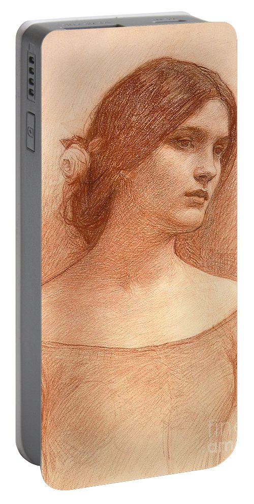 Study For The Lady Clare Portable Battery Charger featuring the drawing Study For The Lady Clare by John William Waterhouse