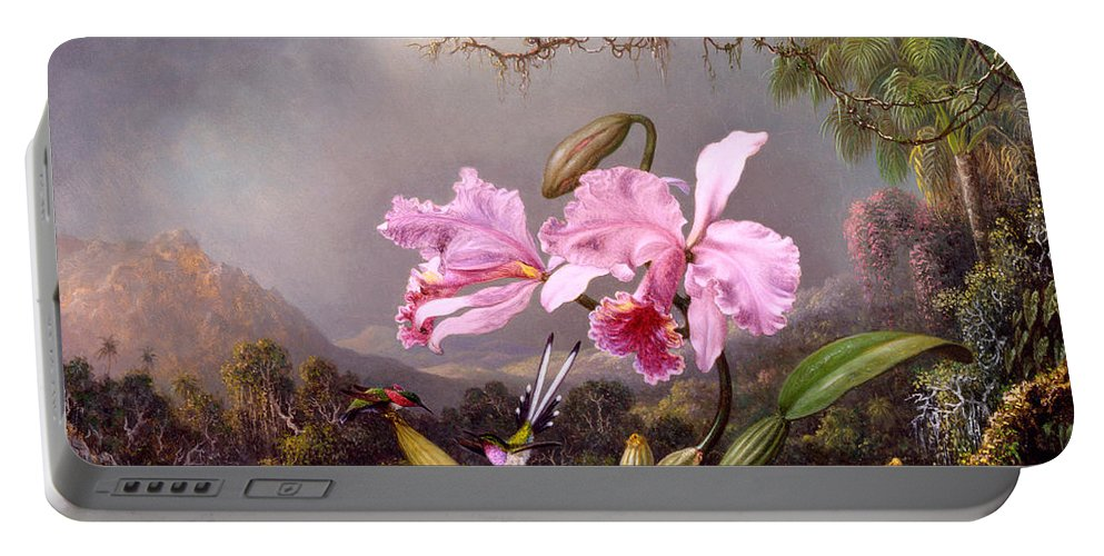 Orchid Portable Battery Charger featuring the painting Study Of An Orchid by Martin Johnson Heade