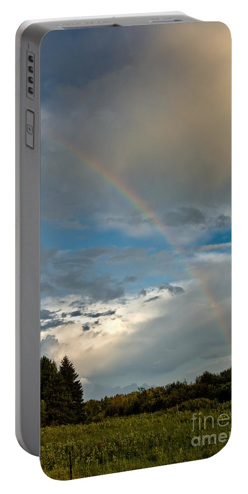 Rainbow Portable Battery Charger featuring the photograph Stunning Rainbow by Cheryl Baxter