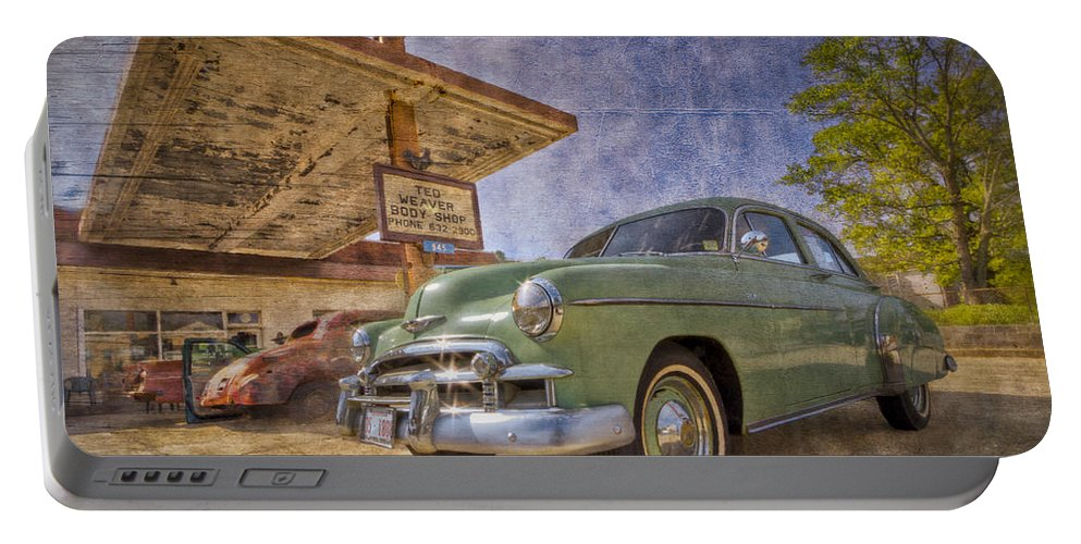 50 Portable Battery Charger featuring the photograph Stylish Chevy by Debra and Dave Vanderlaan