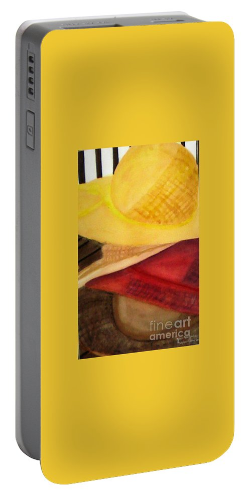 Hats Portable Battery Charger featuring the painting Stylish by Yael VanGruber