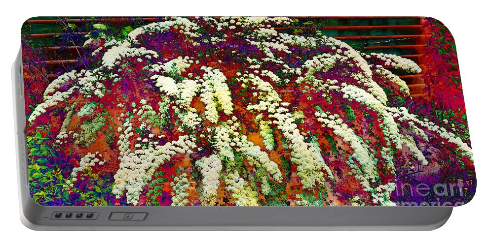 Stylized Spirea - Flowering Plant - Gardener Portable Battery Charger featuring the photograph Stylized Spirea - Flowering Plant - Gardener by Barbara Griffin