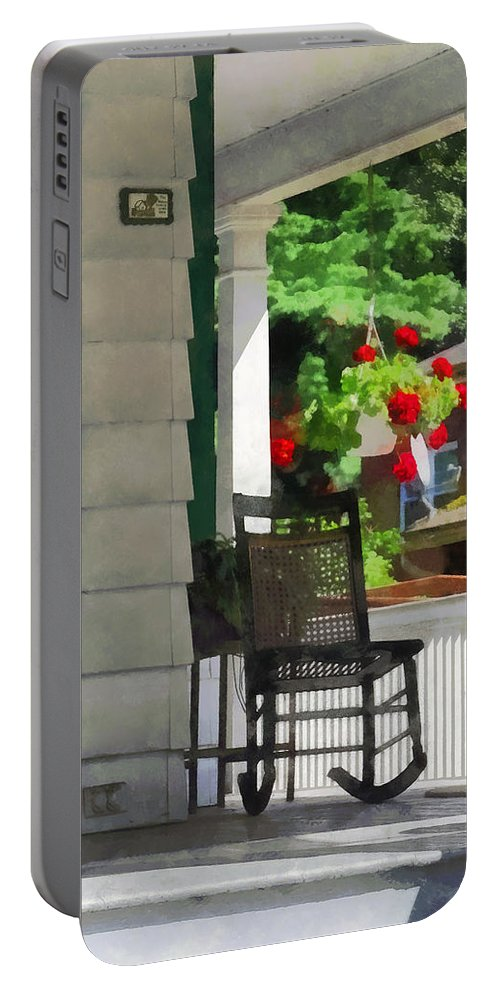 Porch Portable Battery Charger featuring the photograph Suburbs - Porch With Rocking Chair And Geraniums by Susan Savad