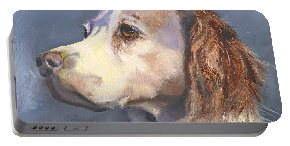 Spaniel Portable Battery Charger featuring the painting Such A Spaniel by Susan A Becker