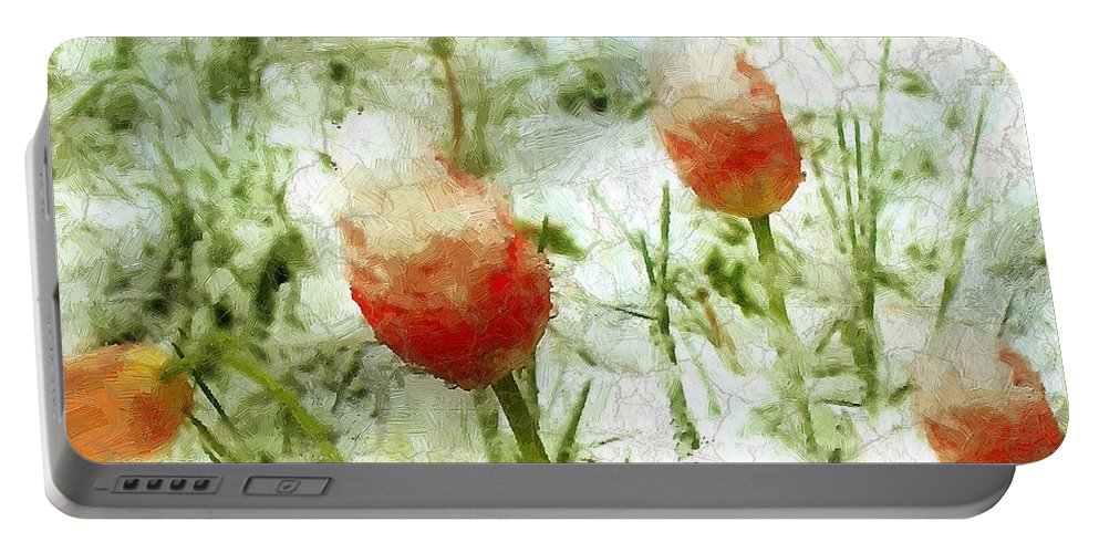 Tulips Portable Battery Charger featuring the painting Suddenly Snow by RC DeWinter
