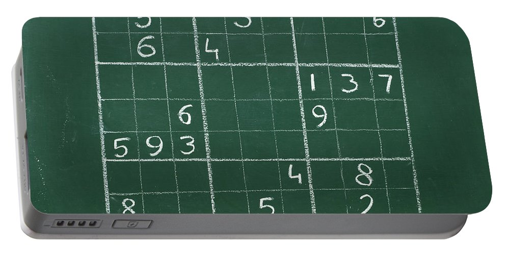 Mathematics Portable Battery Charger featuring the photograph Sudoku On A Chalkboard by Chevy Fleet