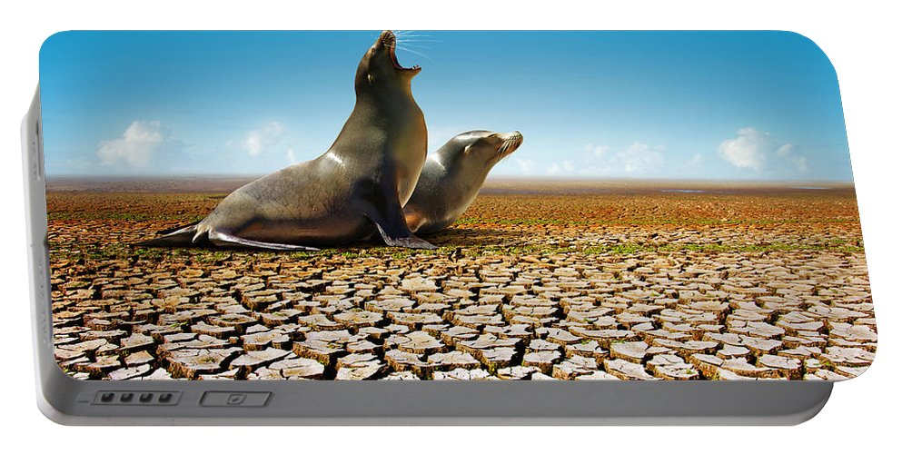 Animal Portable Battery Charger featuring the photograph Suffering Seals by Carlos Caetano