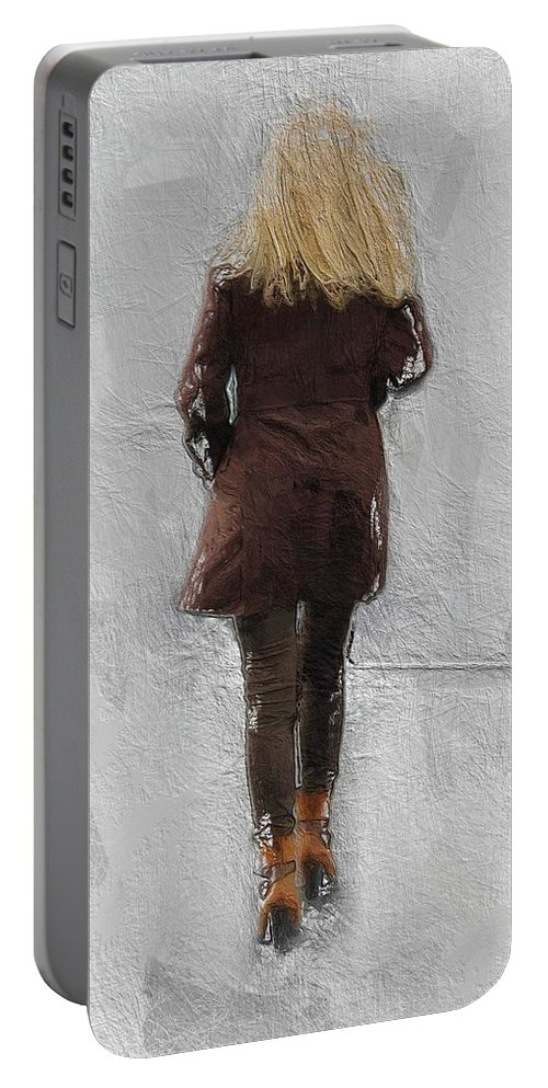 Suicide Blonde Female Woman Girl Sexy Beauty Walking Fog Mist Misty Road Portable Battery Charger featuring the painting Suicide Blonde by Steve K