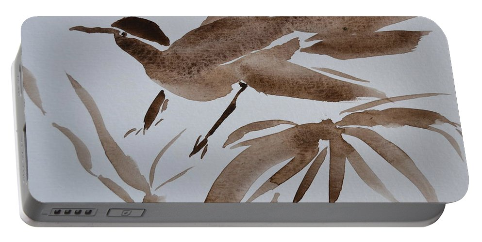 Bird Portable Battery Charger featuring the painting Sumi Bird by Beverley Harper Tinsley