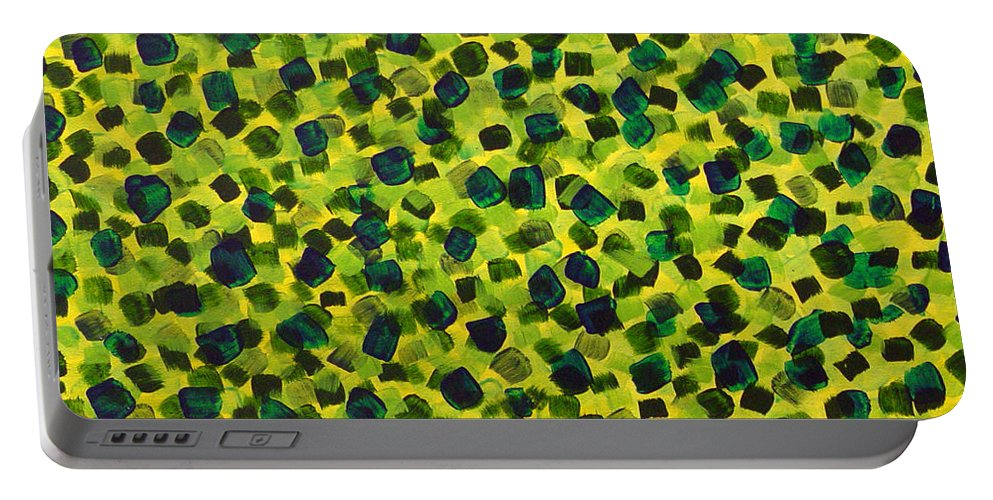 Abstract Portable Battery Charger featuring the painting Sunlight Through The Trees 2 by Dean Triolo