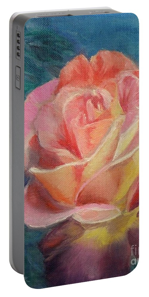 Rose Portable Battery Charger featuring the painting Summer Bloom by Liz Snyder