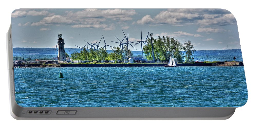Lighthouse Portable Battery Charger featuring the photograph Summer Breeze From Lasalle Park by Michael Frank Jr