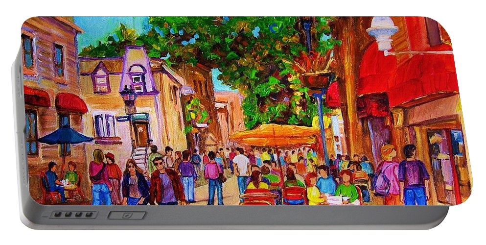 Summer Cafes Montreal Street Scenes Portable Battery Charger featuring the painting Summer Cafes by Carole Spandau