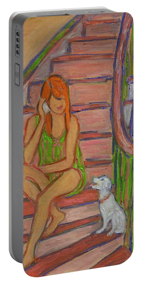 Girl Portable Battery Charger featuring the painting Summer Chat by Xueling Zou