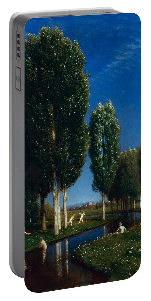 Arnold Boecklin Portable Battery Charger featuring the painting Summer Day by Arnold Boecklin