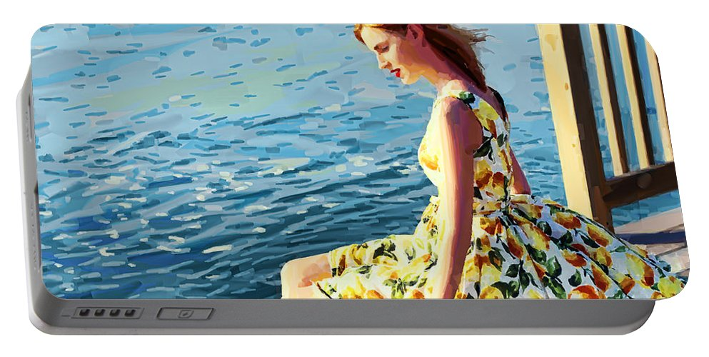 Summer Eve On The Dock. Portable Battery Charger featuring the digital art Summer Eve by Anita Hubbard