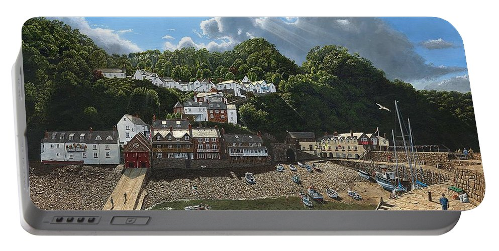 Landscape Portable Battery Charger featuring the painting Summer Evening Clovelly North Devon by Richard Harpum
